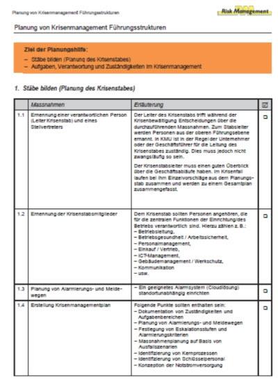 Krisenmanagement Checkliste - Planungshilfe (10 Seiten)